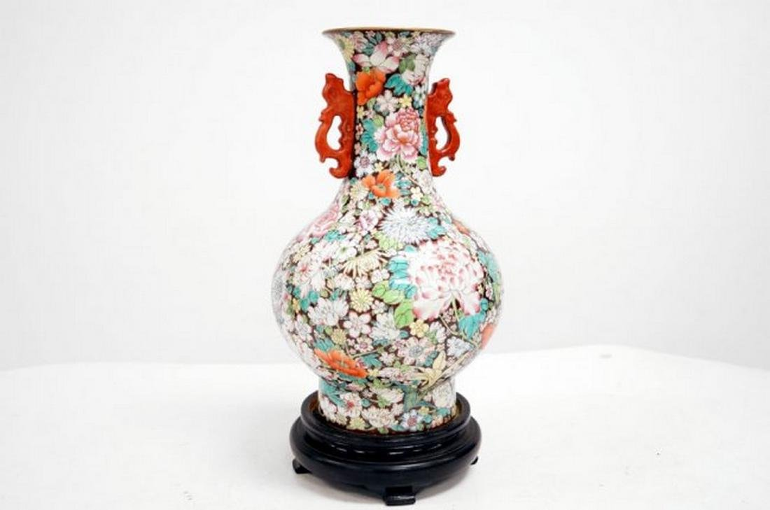 CHINESE FAMILLE ROSE DECORATED PORCELAIN MILLEFLEUR