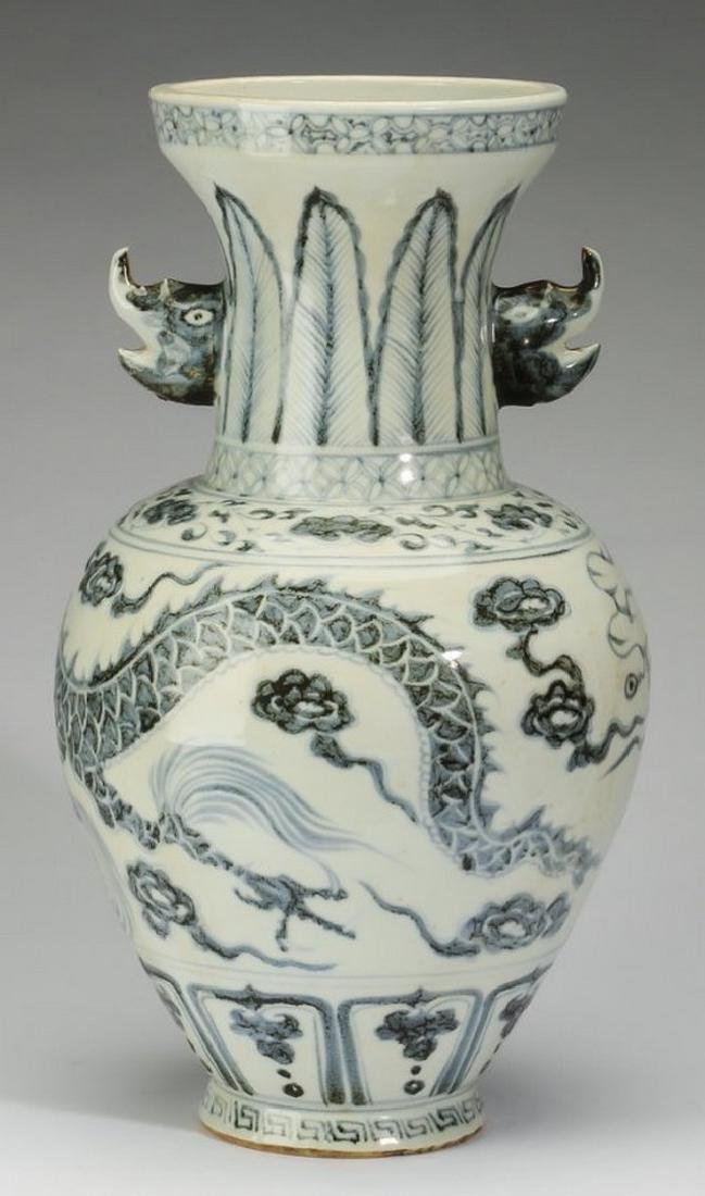 "Chinese blue and white baluster dragon vase, 17""h - 2"