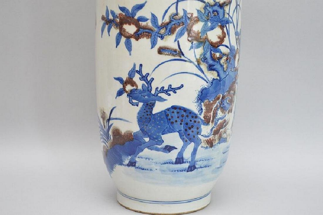 Chinese Porcelain Vase with blue & purple flowers on a - 2