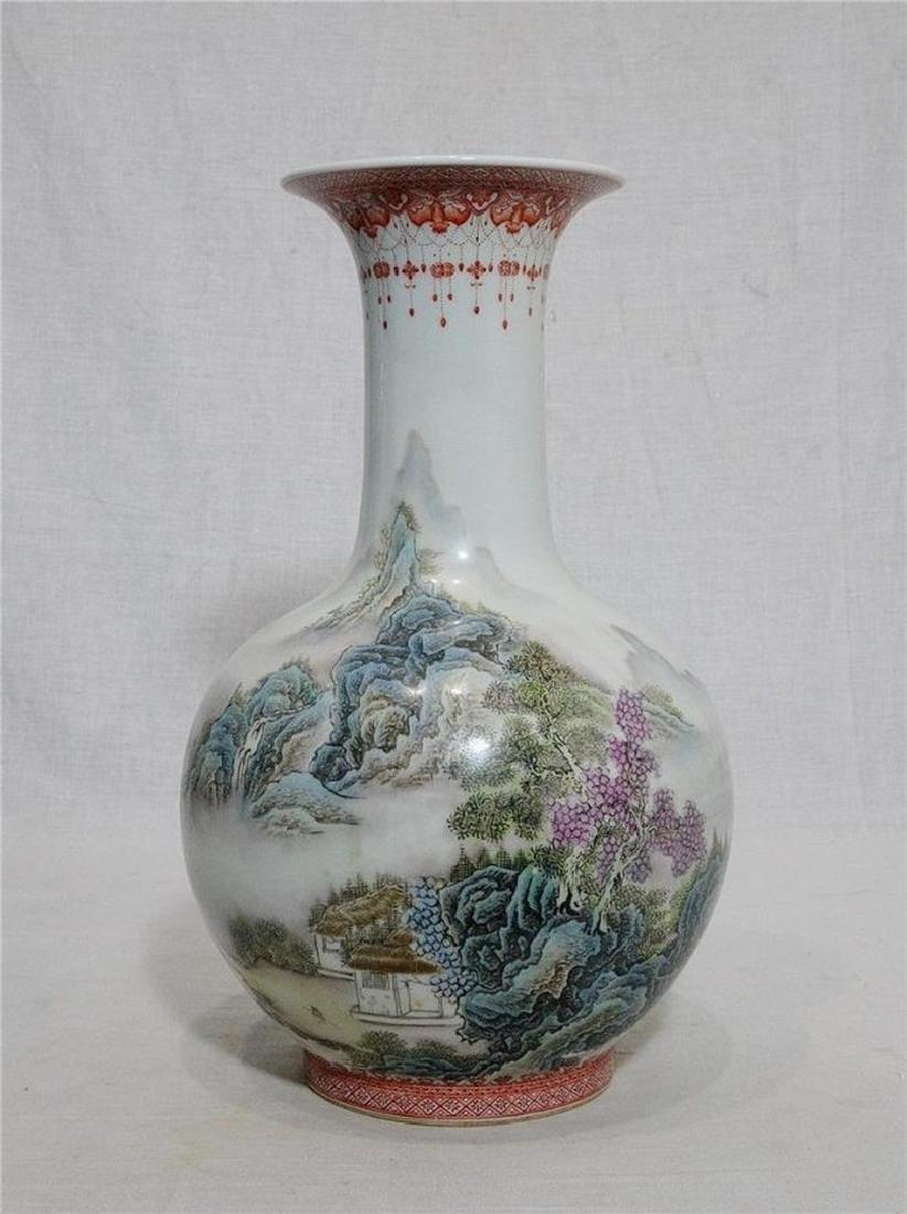 Chinese Famille Rose Porcelain Vase With Studio Mark