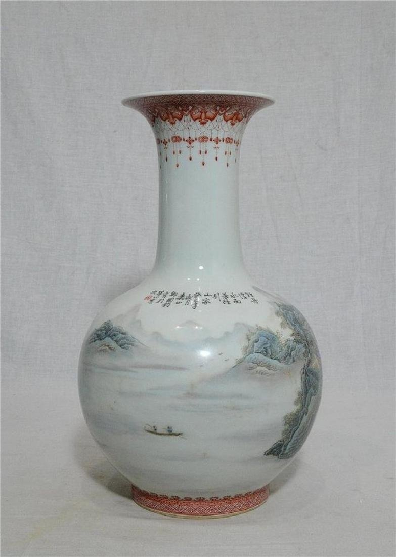 Chinese Famille Rose Porcelain Vase With Studio Mark - 5