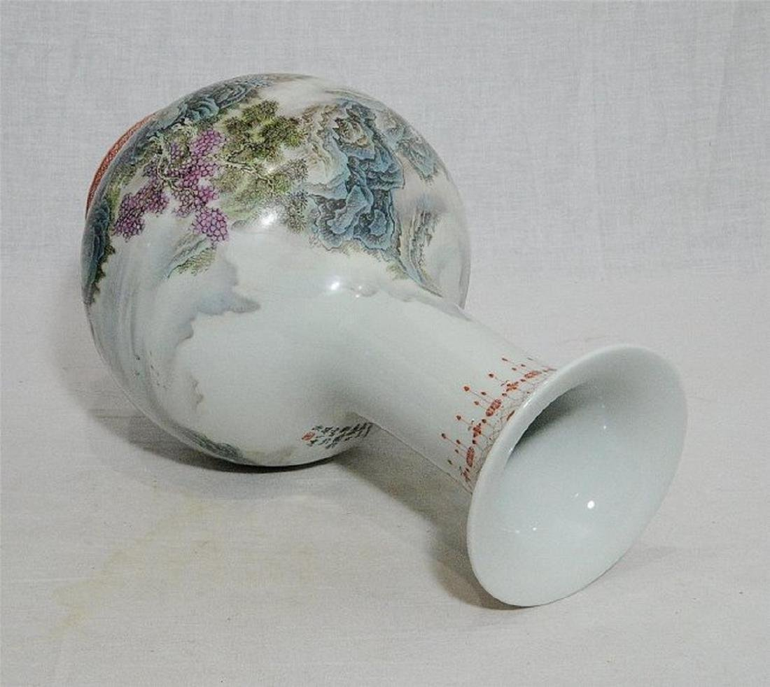 Chinese Famille Rose Porcelain Vase With Studio Mark - 7