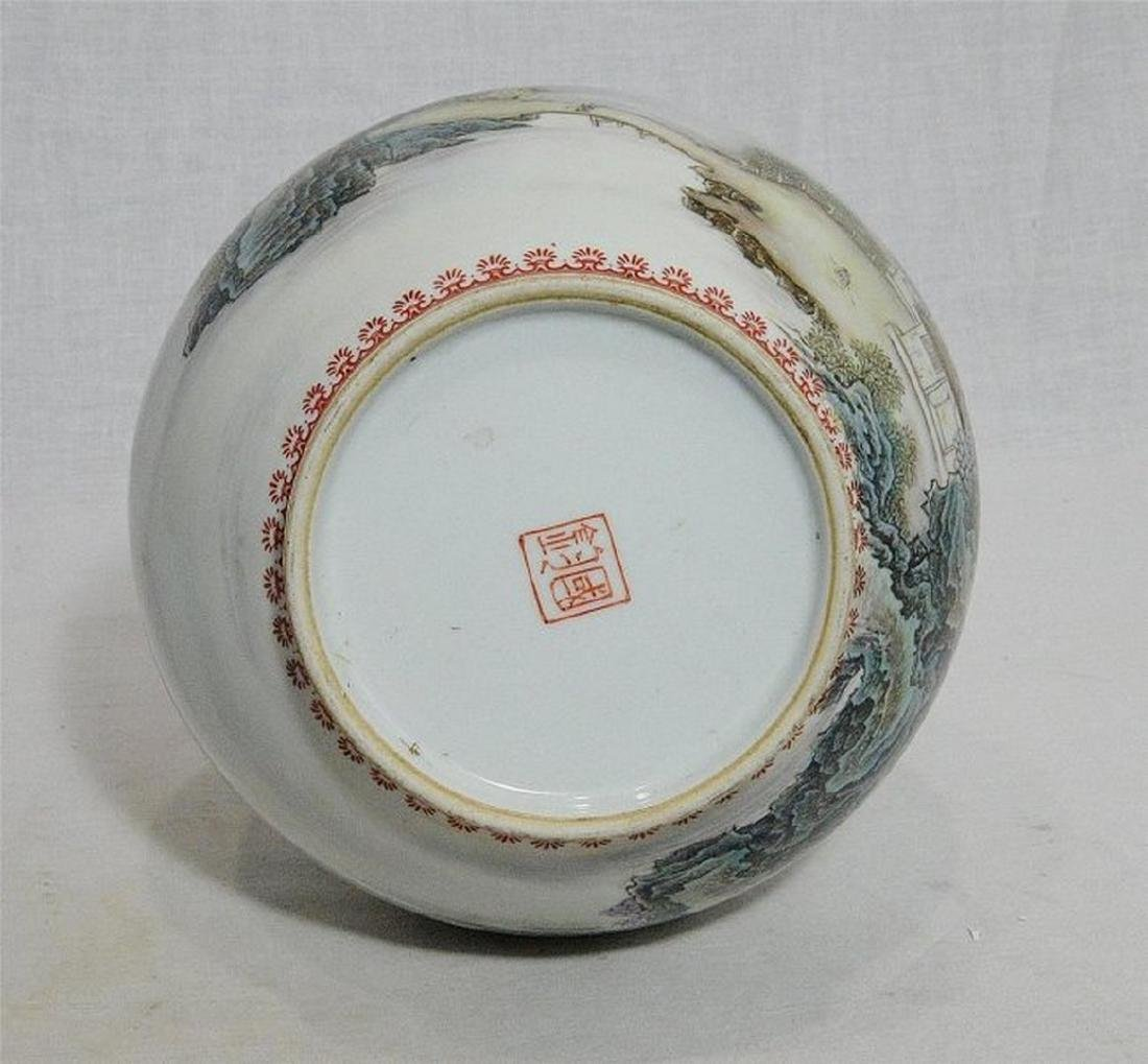 Chinese Famille Rose Porcelain Vase With Studio Mark - 9
