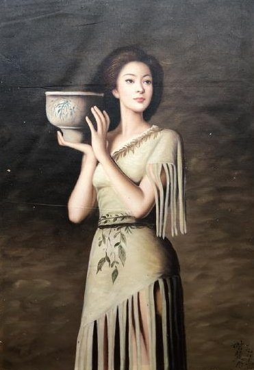 Canvas oil painting of beautiful women