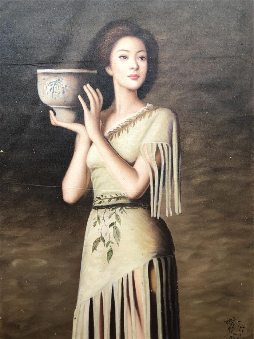 Canvas oil painting of beautiful women - 2