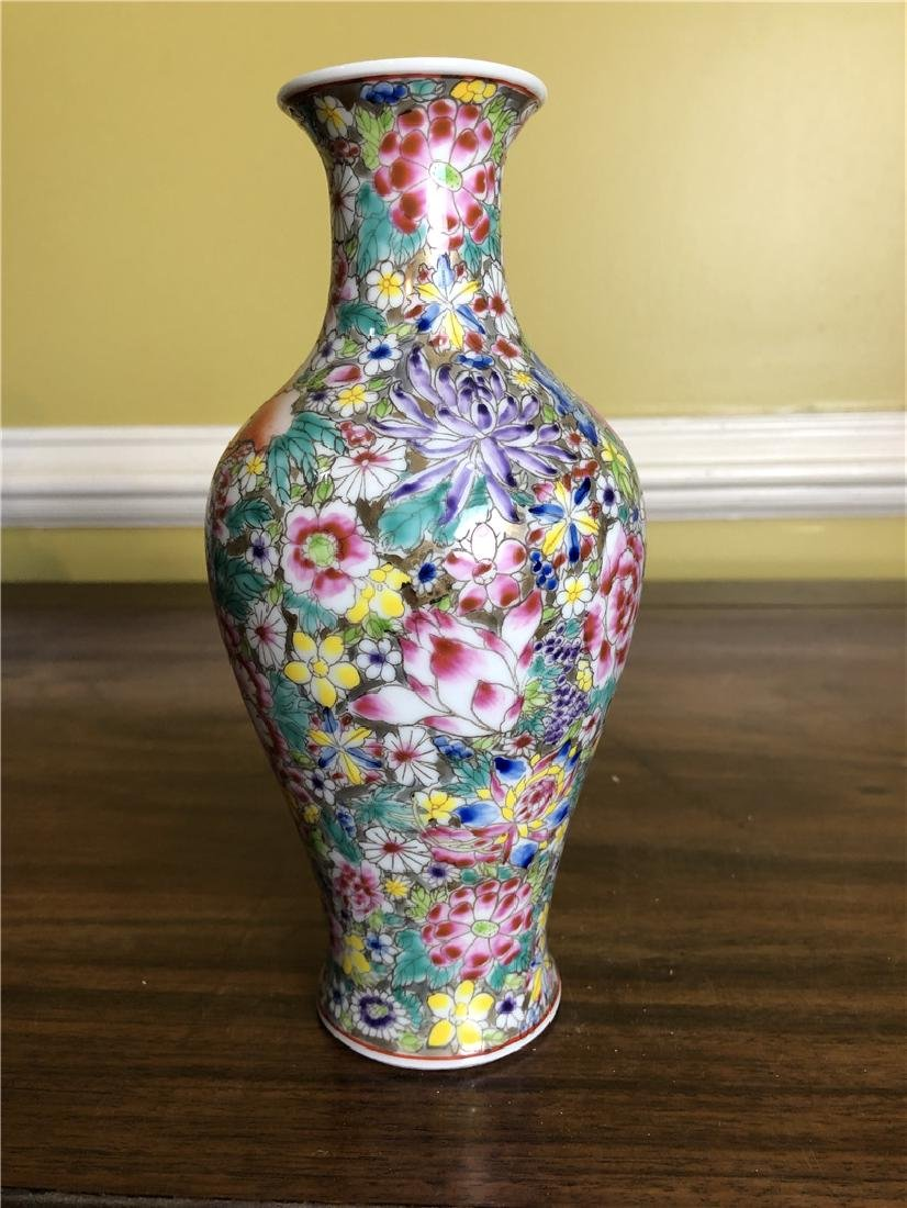 A fine Chinese vase with flower with Mark H 8 1/2inches - 2