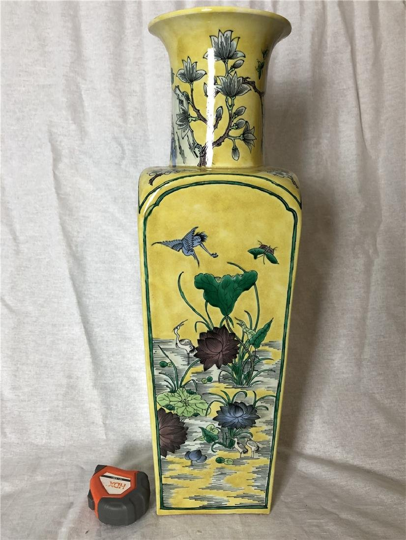 A Fine Chinese large yellow ground vase with flower