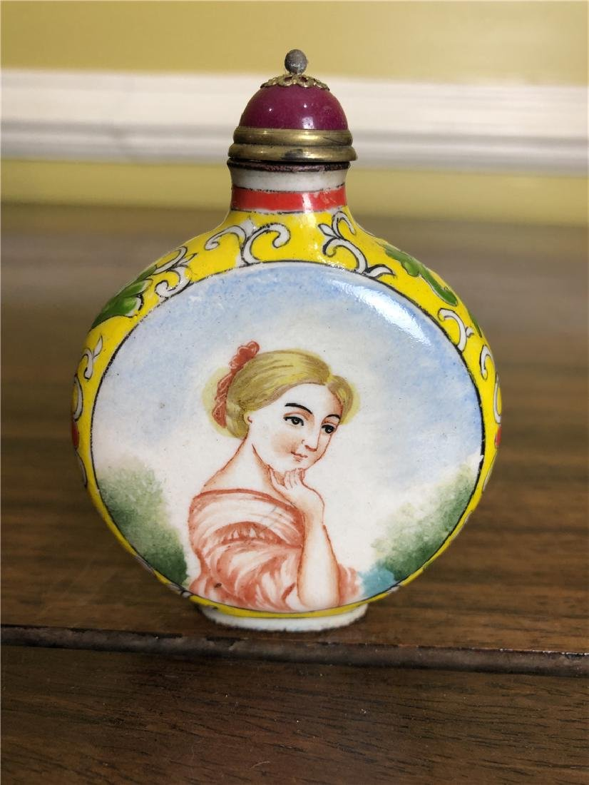 A Copper enamel snuff bottle - 2