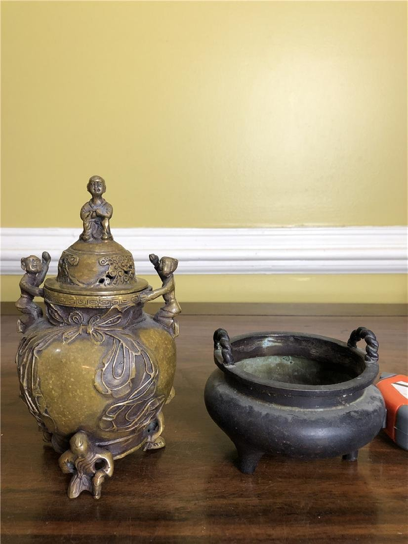 2 pieces of bronze incense burner