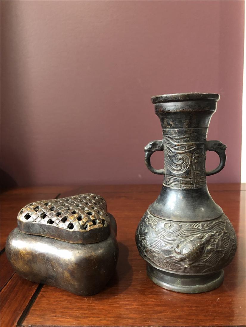2 Bronze incense burner