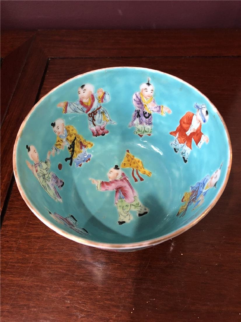 A fine Chinese green pocelain bowl with kids painting