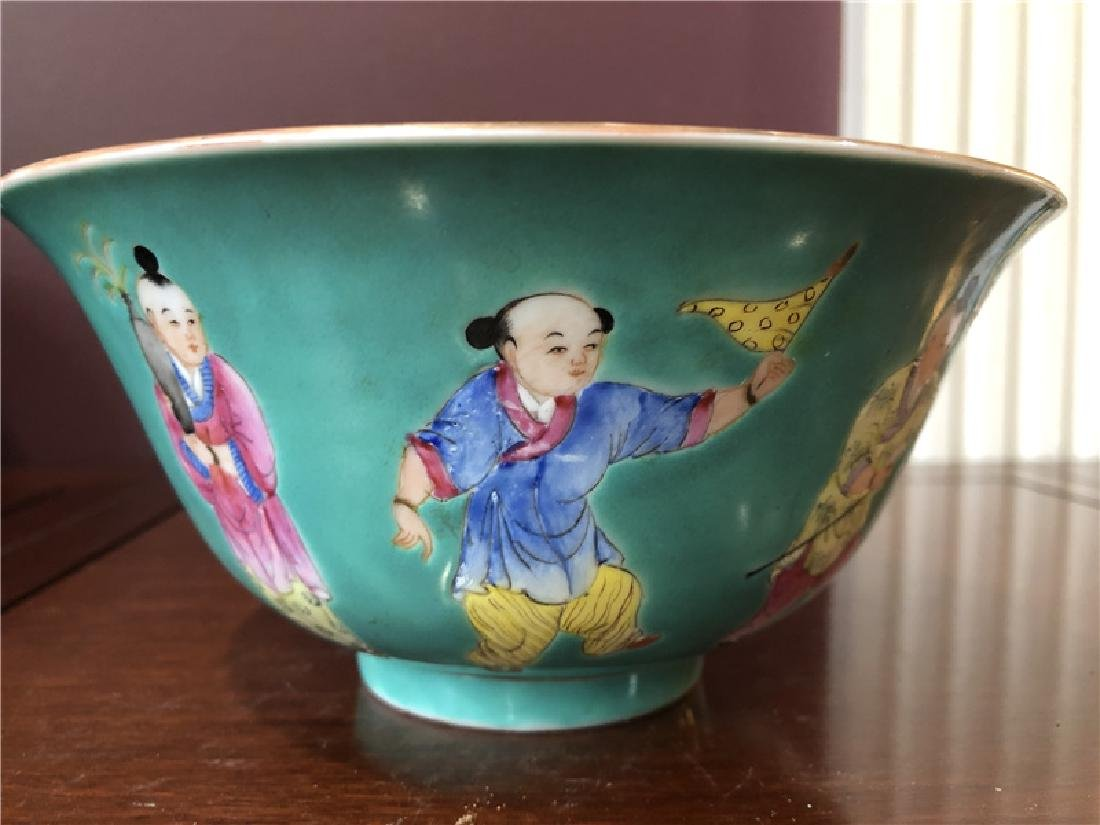 A fine Chinese green pocelain bowl with kids painting - 2