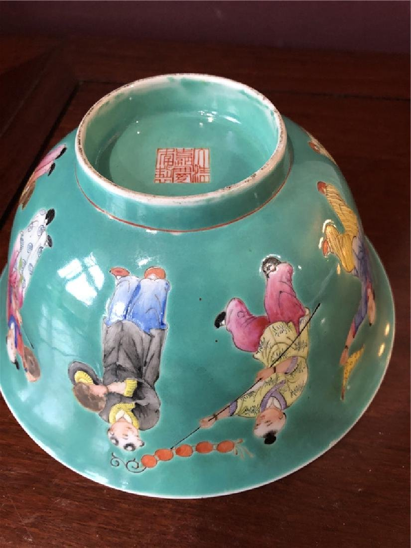 A fine Chinese green pocelain bowl with kids painting - 4