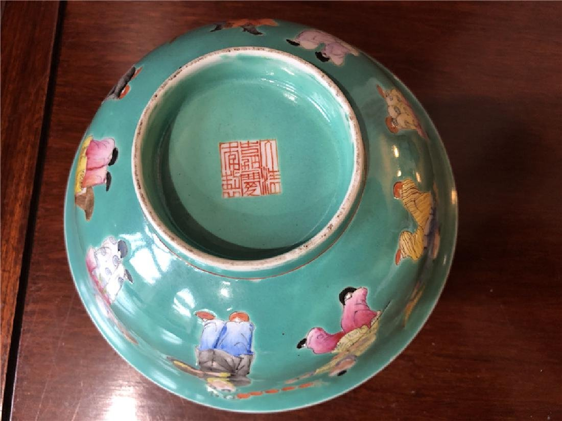 A fine Chinese green pocelain bowl with kids painting - 5