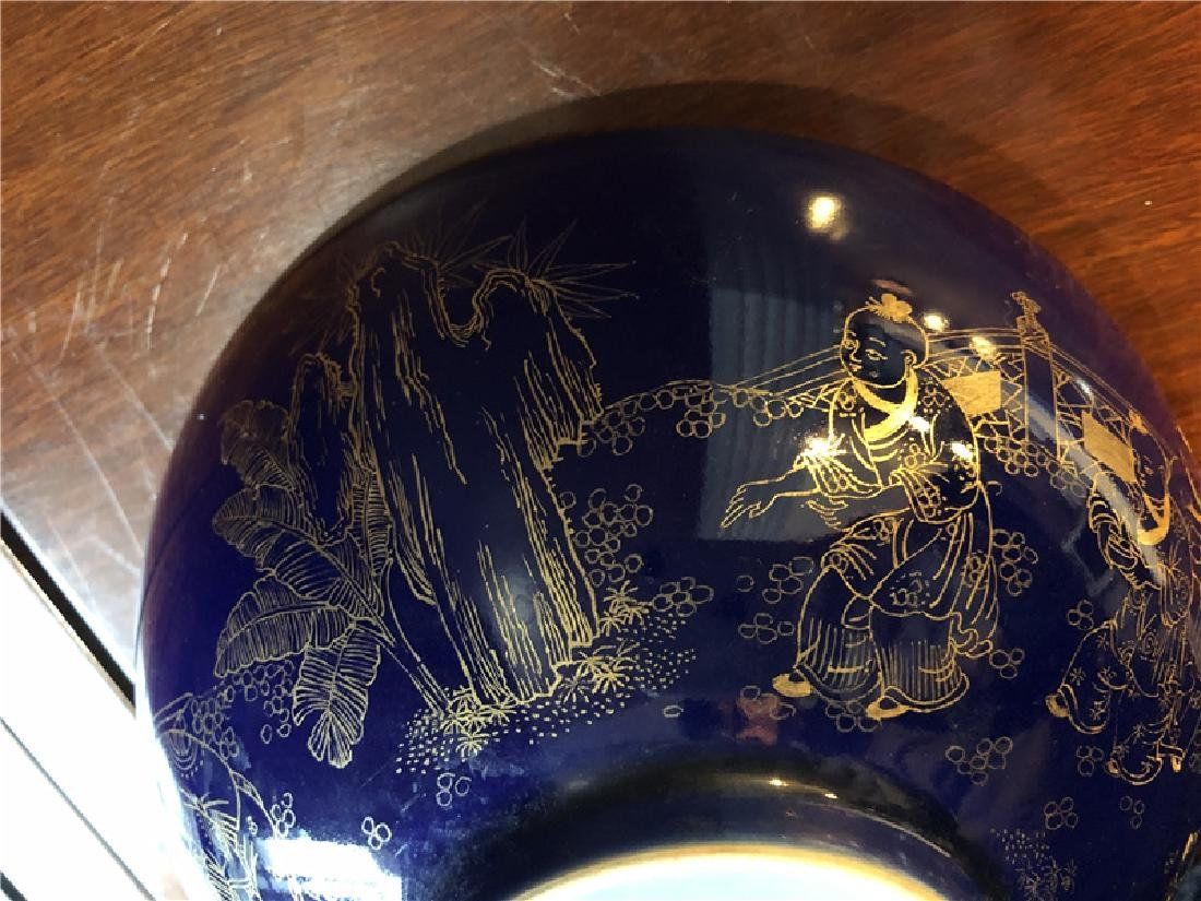 Large Chinese blue bowl with golden painting - 6