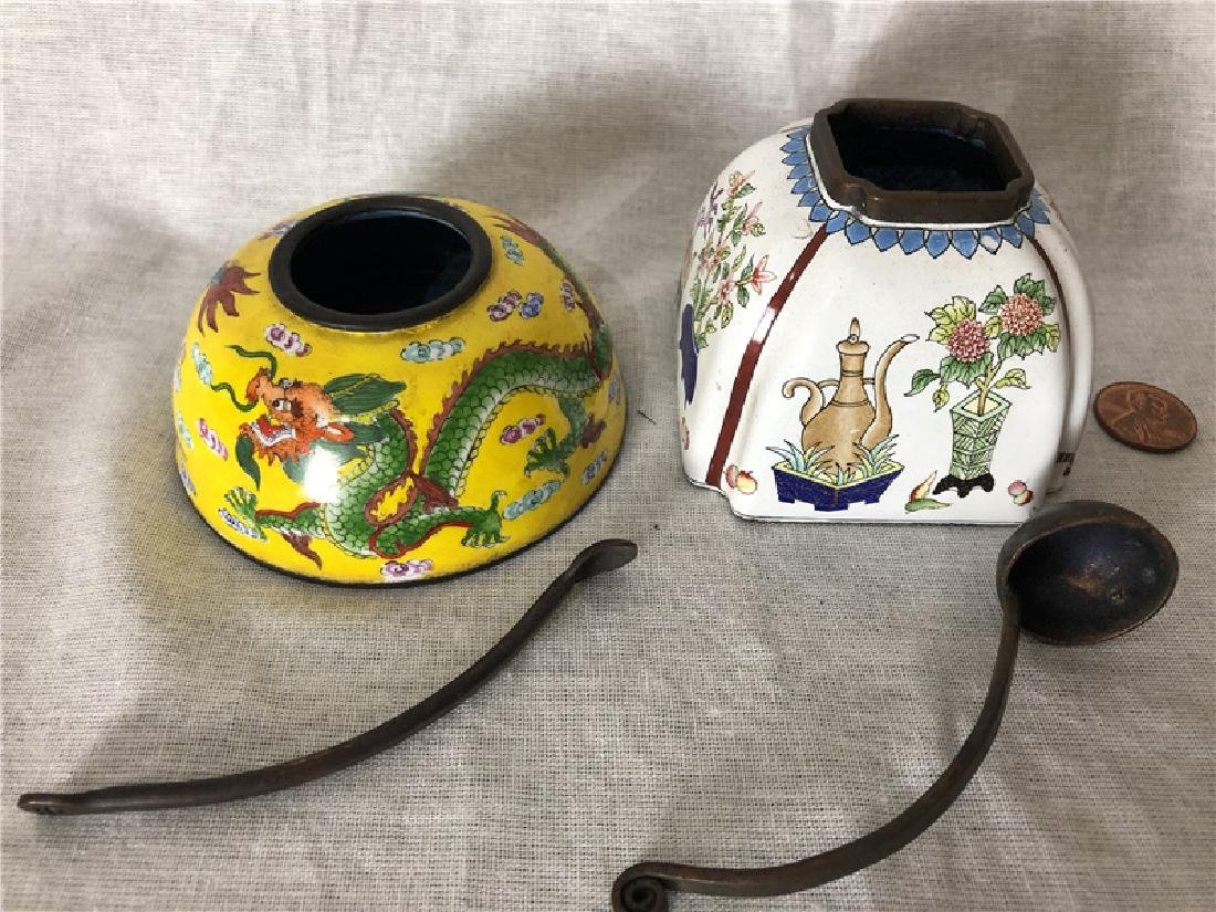 Two pieces of copper cloisonne - 3