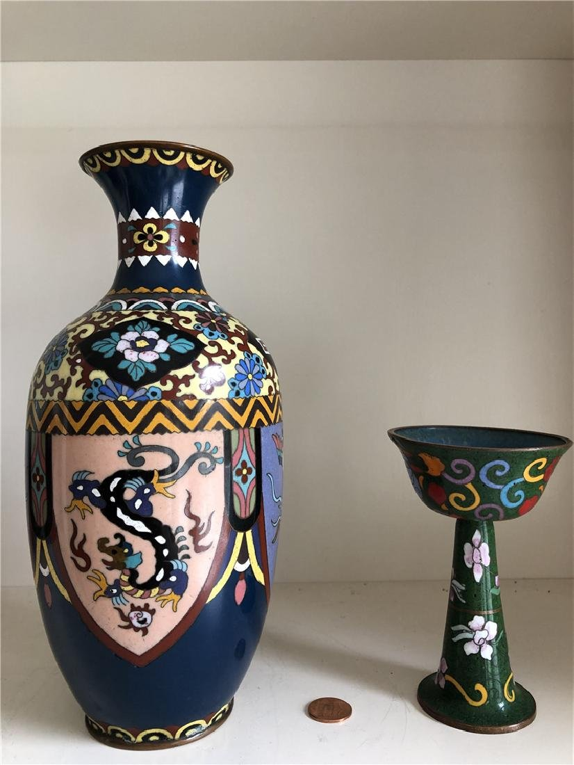 Two Japanese copper cloisonne container