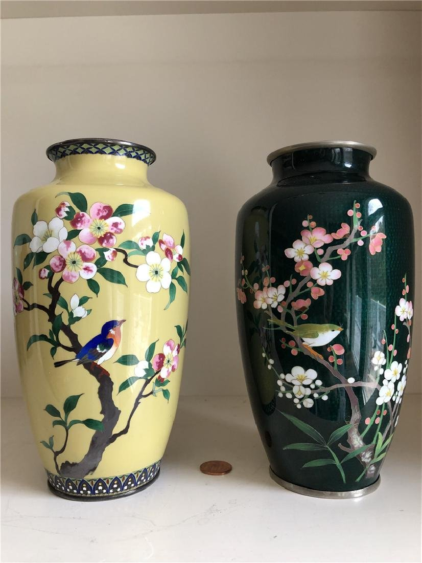 Two pieces of copper cloisonne vase