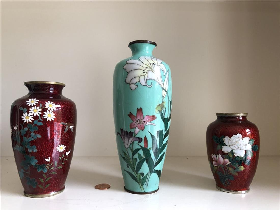 3 pieces of copper cloisonne vase