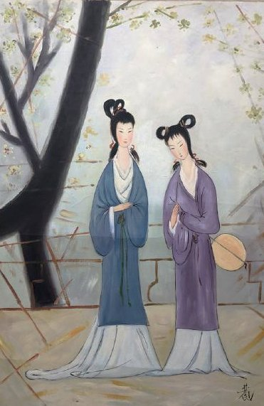 A Fine Chinese oil painting of ladies