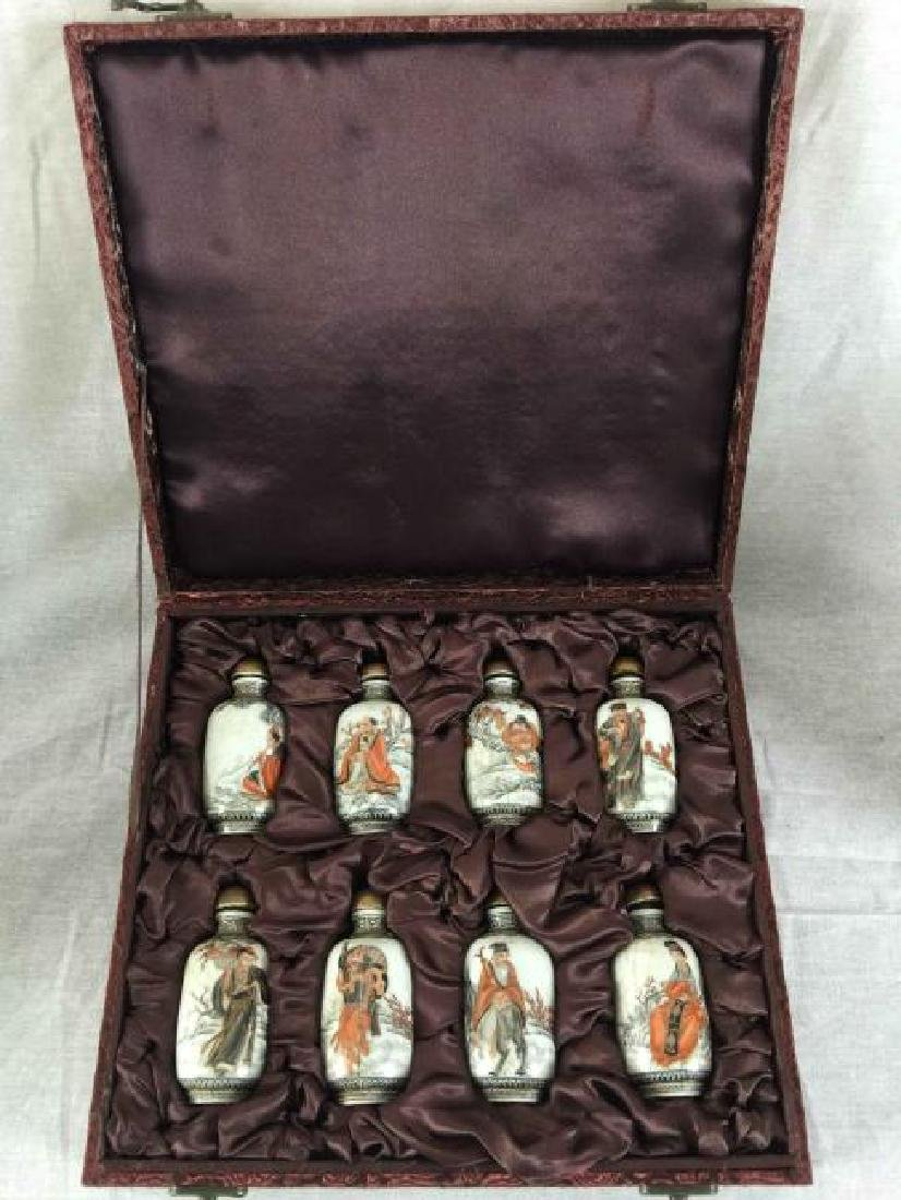 8 Chinese character painting snuff bottle in one box