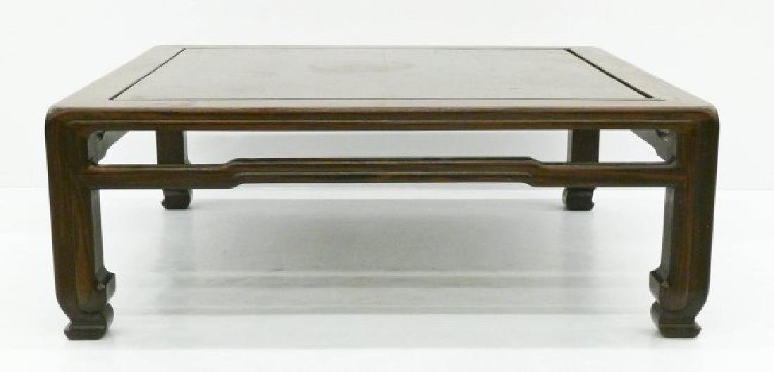 A Chinese Rosewood Low Table 12''x35''x35''. A carved