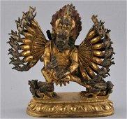Gilt bronze image. Sino-Tibetan. 18th century. Figure