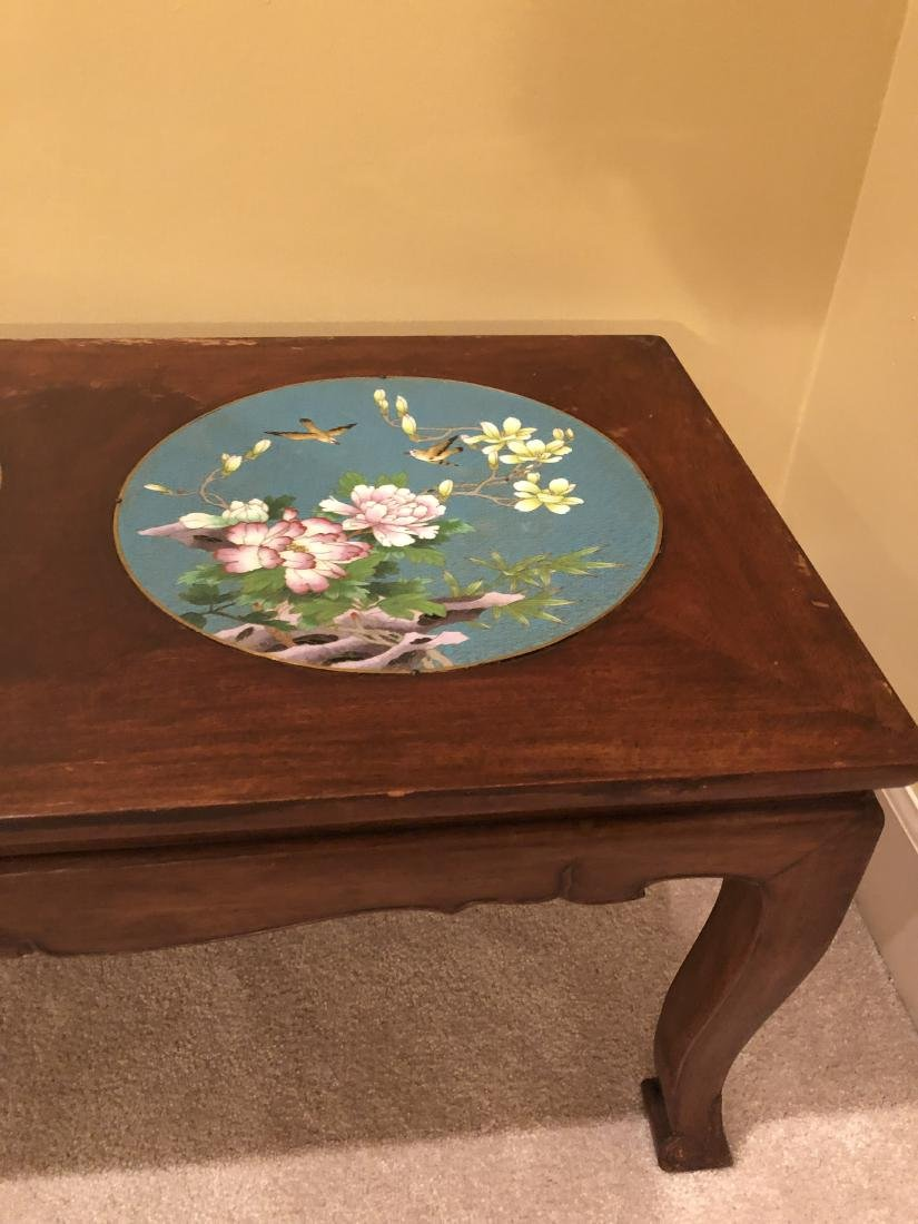 Old Chinese Wood & Cloisonné Table - 8