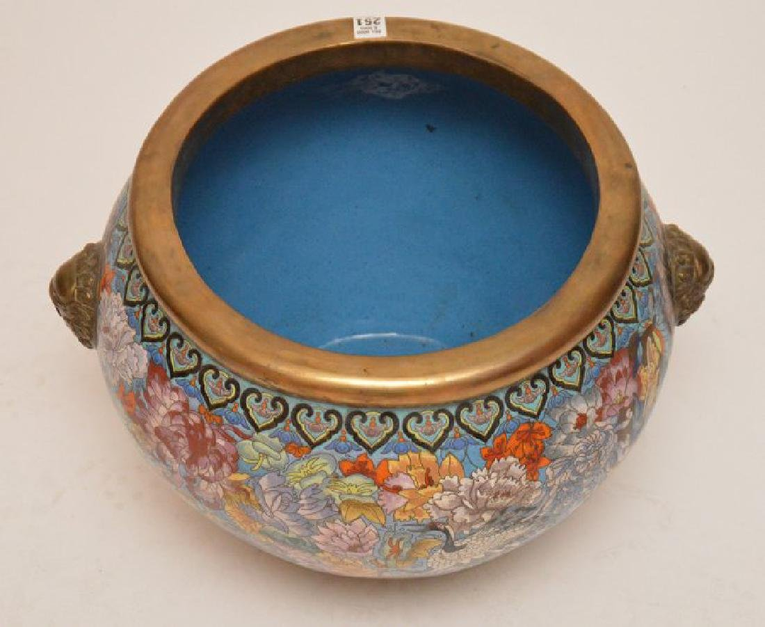 Intricate detailed cloisonné jardinière on stand, - 3