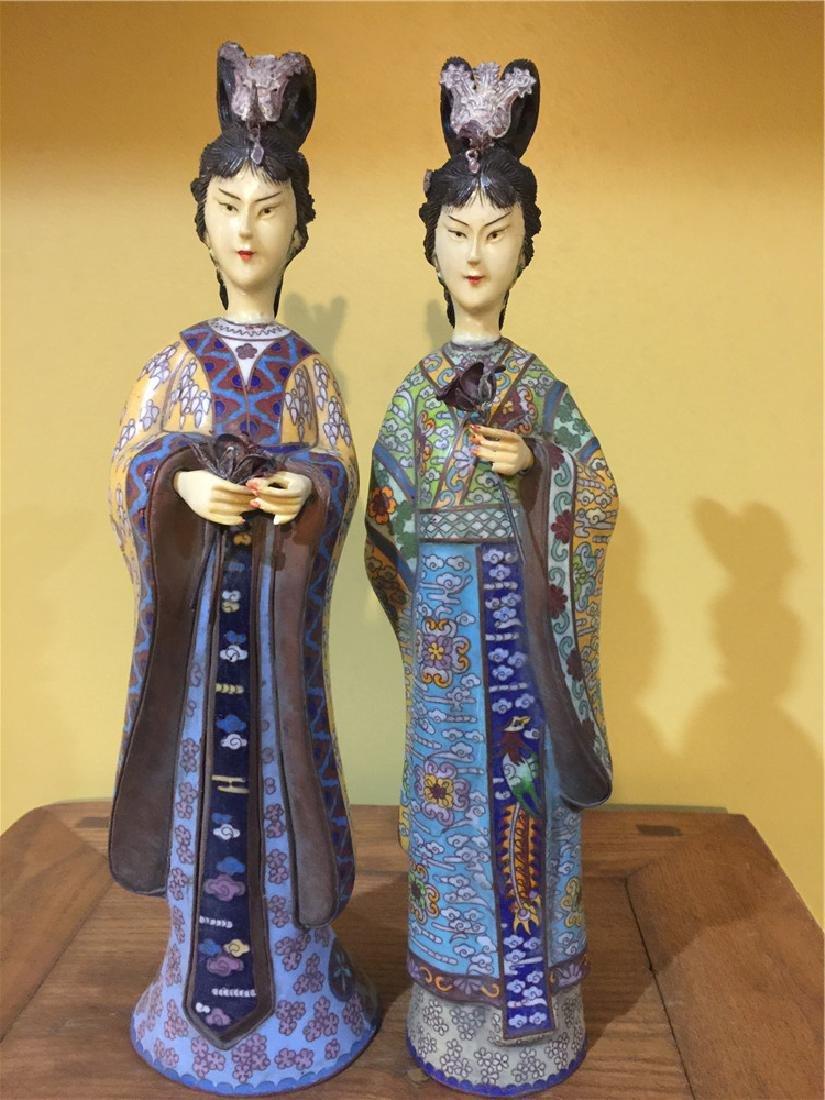 two cloisonne beauty figurine A