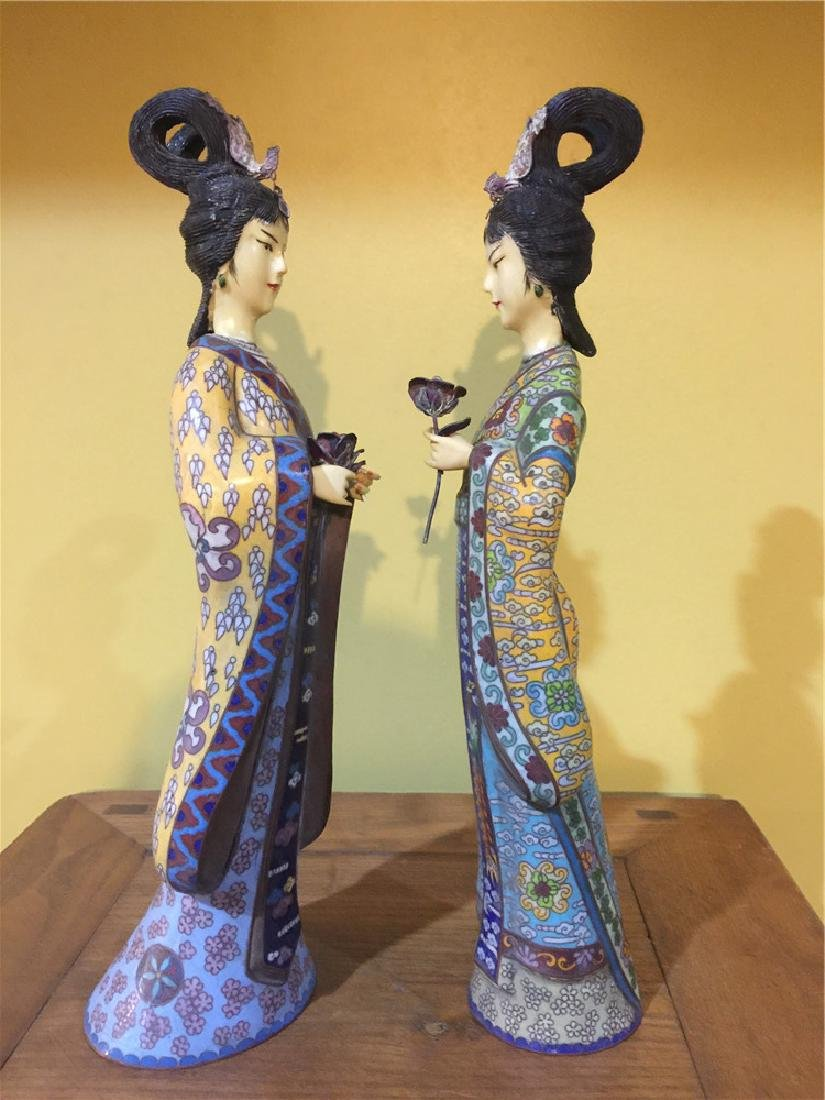 two cloisonne beauty figurine A - 2