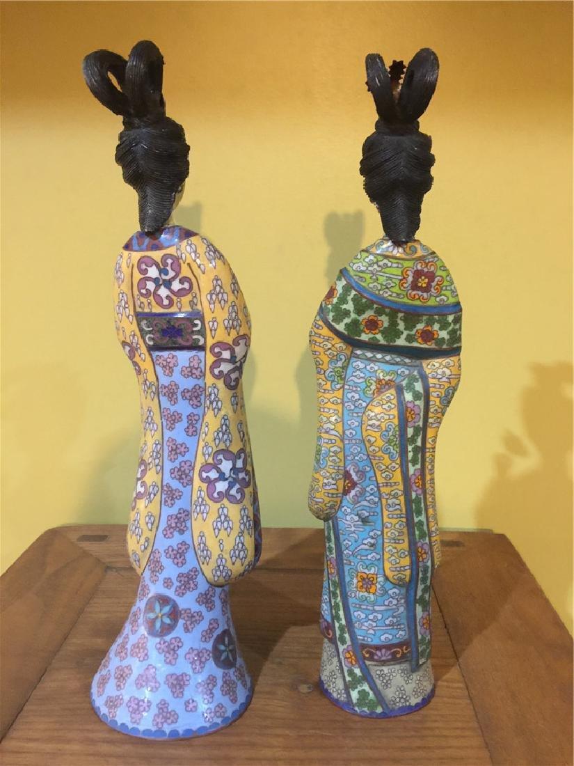 two cloisonne beauty figurine A - 3