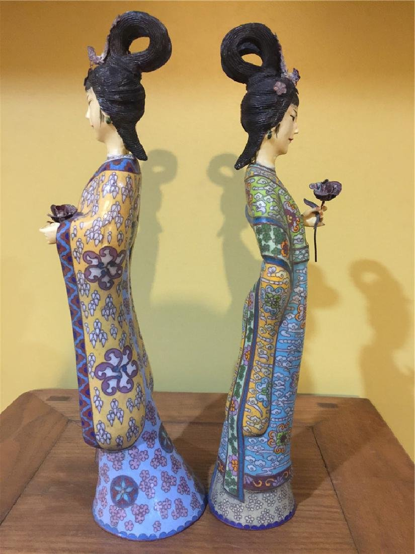 two cloisonne beauty figurine A - 4