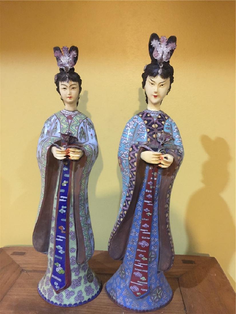two cloisonne beauty figurine C