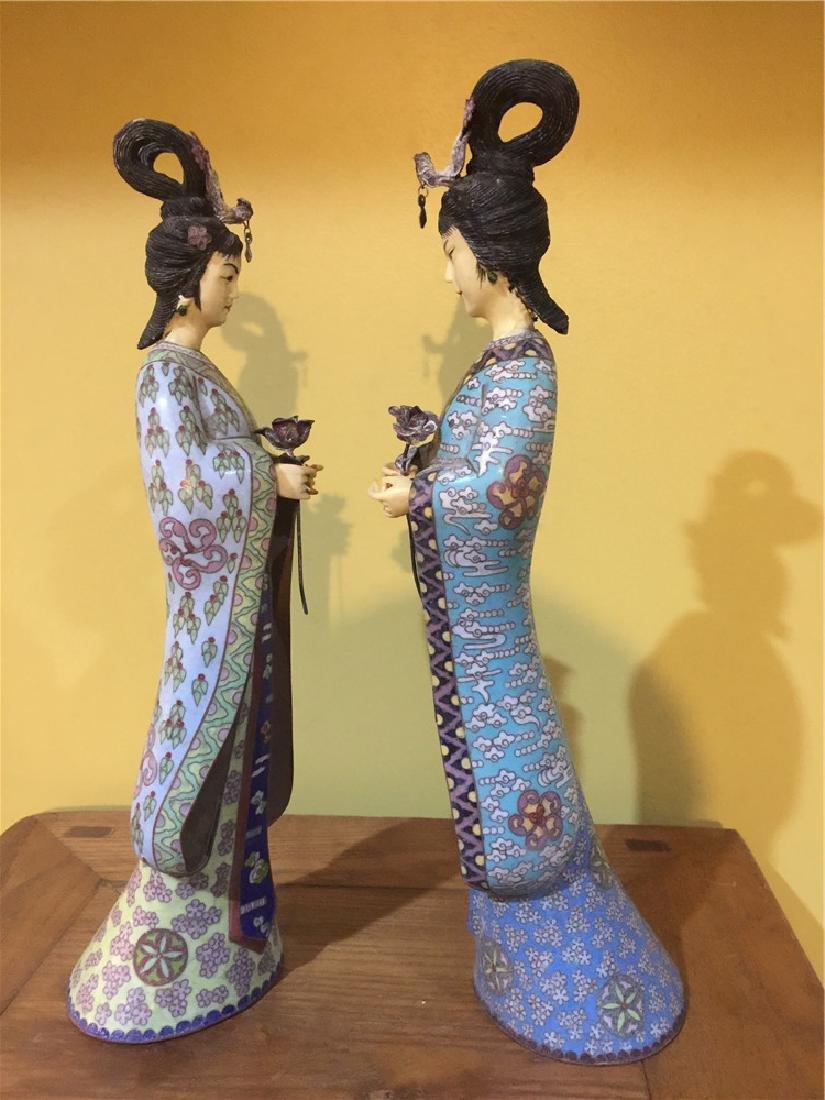 two cloisonne beauty figurine C - 2