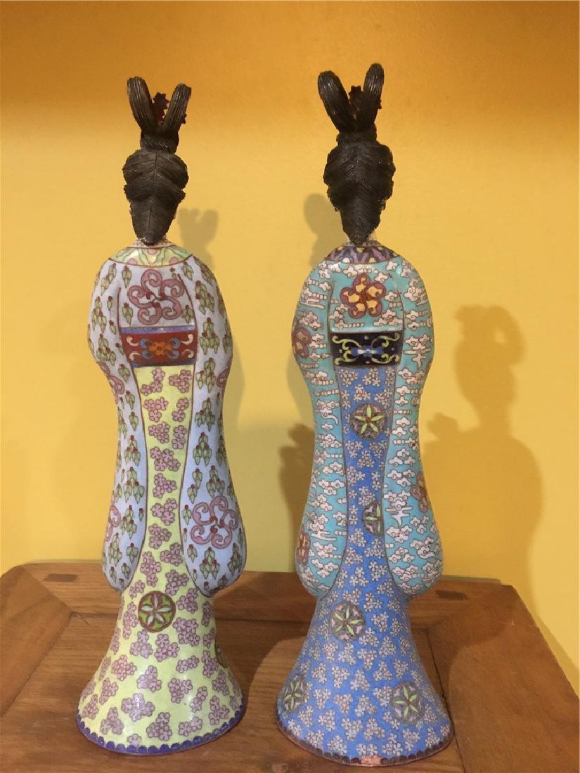 two cloisonne beauty figurine C - 3