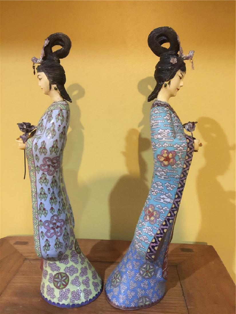 two cloisonne beauty figurine C - 4