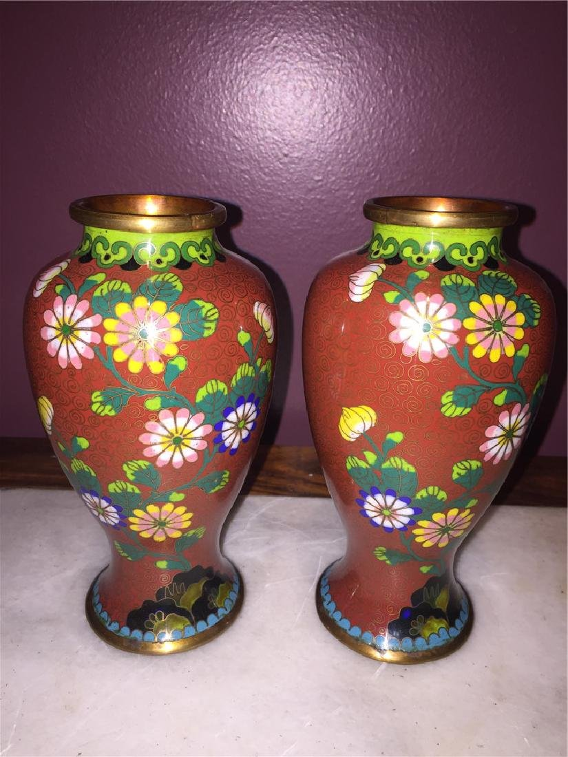A pair of Japanese cloisonne vase painting with flower