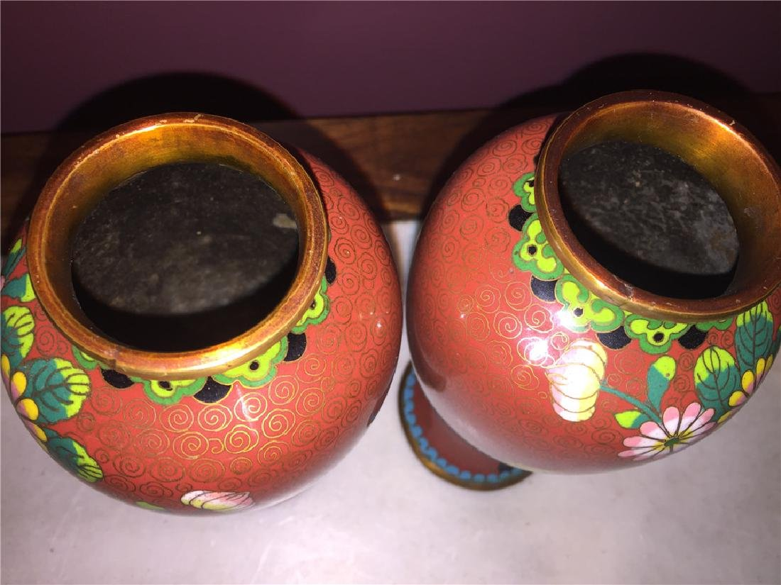 A pair of Japanese cloisonne vase painting with flower - 3