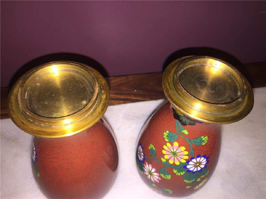 A pair of Japanese cloisonne vase painting with flower - 4