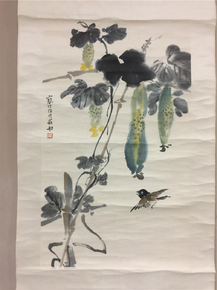 Fine Chinese scroll painting with plants