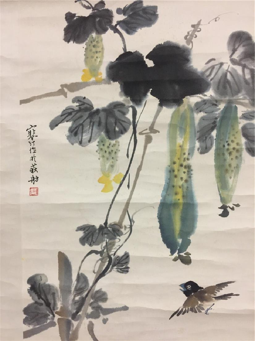 Fine Chinese scroll painting with plants - 3