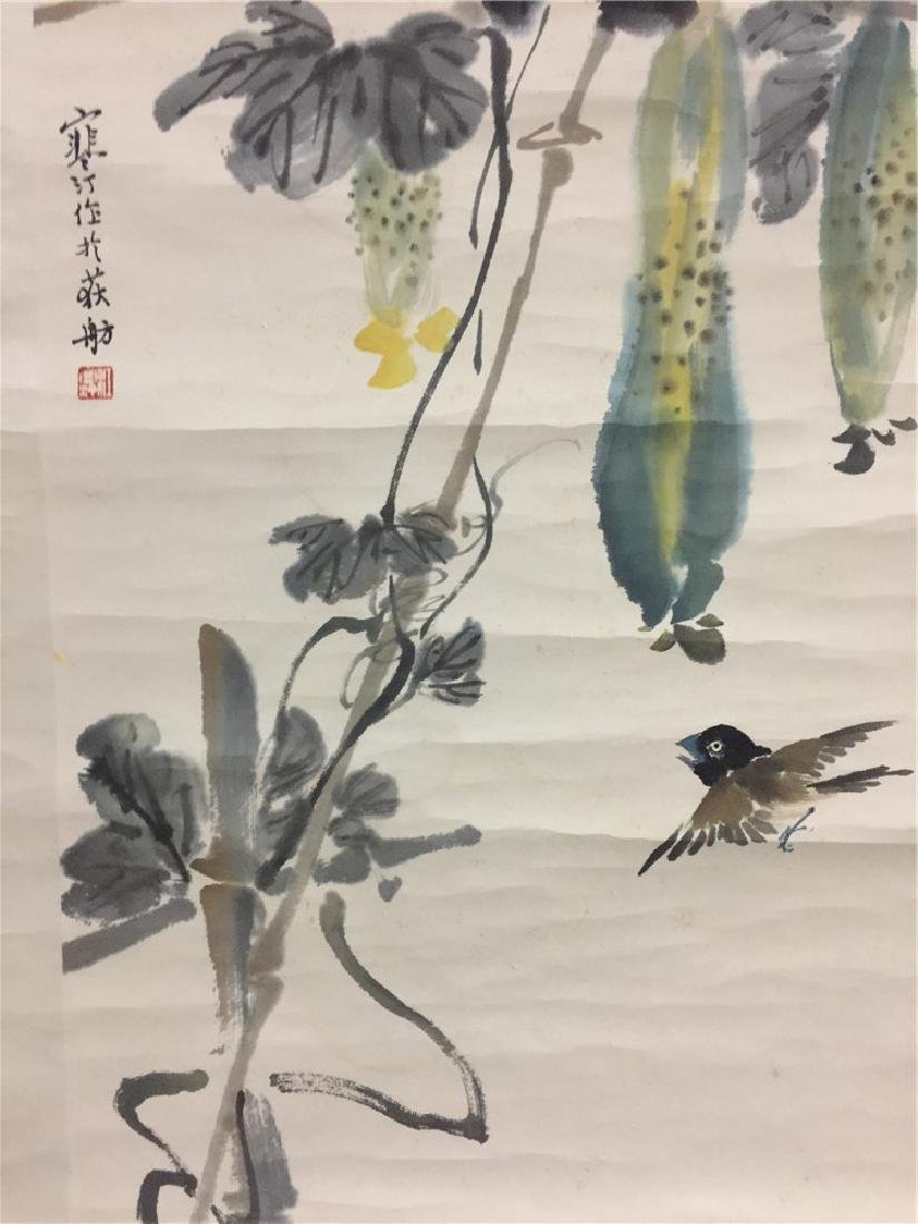 Fine Chinese scroll painting with plants - 4