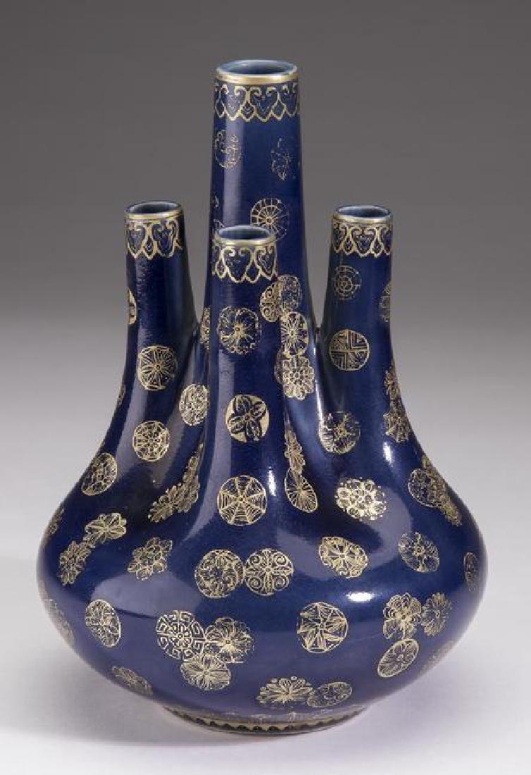 "Chinese kirande multi-neck vase, Qianlong mark, 8""h - 2"
