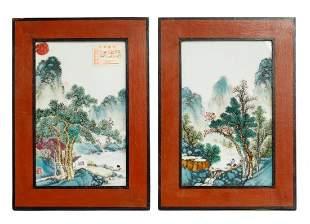 Pair of Republic Period Chinese Porcelain Plaque