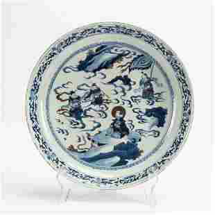 Chinese Qing Dynasty large blue and white porcelain