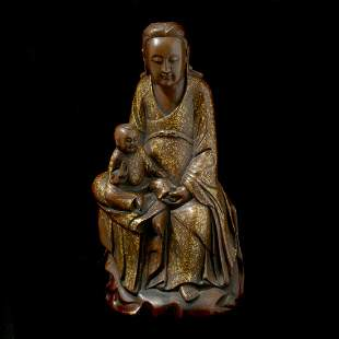 Chinese Gold Flecked Patinated Bronze Seated Guanyin