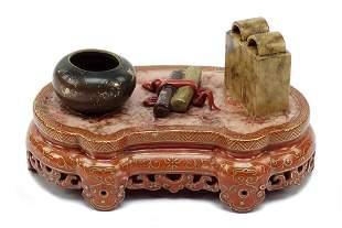 Chinese Qing Dynasty Qianlong Mark Porcelain Scholar's