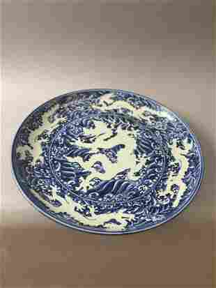 Ming Dynasty blue and white dragon pattern large plate