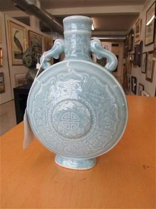 Qianlong Sky Blue Glazed Flat Bottle with Eight
